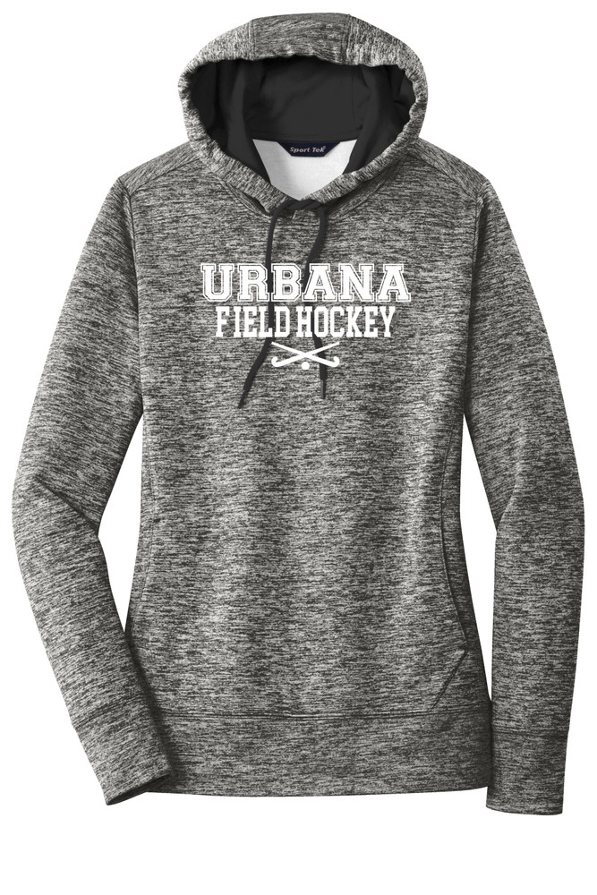 Urbana FIELD HOCKEY Hoodie Performance PosiCharge Electric Heather Fleece Pullover Sweatshirt Sticks Many Colors Available LADIES Sizes XS-4XL BLACK ELECTRIC
