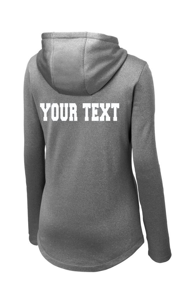 Urbana FIELD HOCKEY Hooded Performance PosiCharge Heather Fleece Pullover Sweatshirt Sticks LADIES Sizes XS-4XL Many Colors Available   BACKSIDE PERSONALIZATION BLACK HEATHER