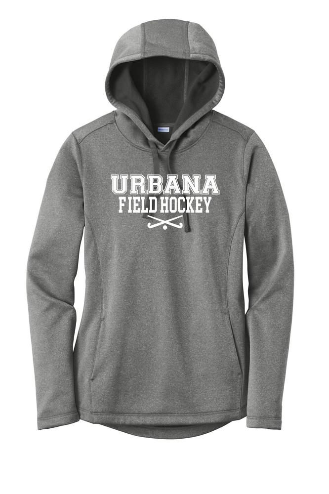 Urbana FIELD HOCKEY Hooded Performance PosiCharge Heather Fleece Pullover Sweatshirt Sticks LADIES Sizes XS-4XL Many Colors Available BLACK HEATHER
