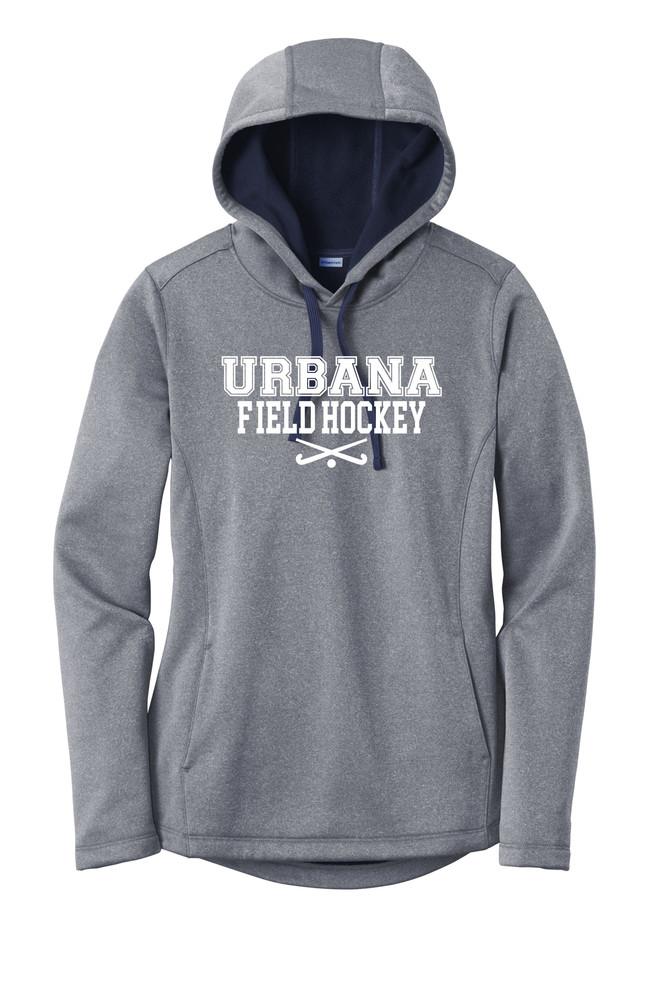 Urbana FIELD HOCKEY Hooded Performance PosiCharge Heather Fleece Pullover Sweatshirt Sticks LADIES Sizes XS-4XL Many Colors Available  TRUE NAVY HEATHER