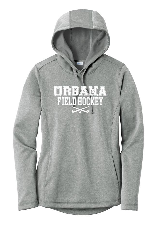 Urbana FIELD HOCKEY Hooded Performance PosiCharge Heather Fleece Pullover Sweatshirt Sticks LADIES Sizes XS-4XL Many Colors Available  DARK SILVER HEATHER