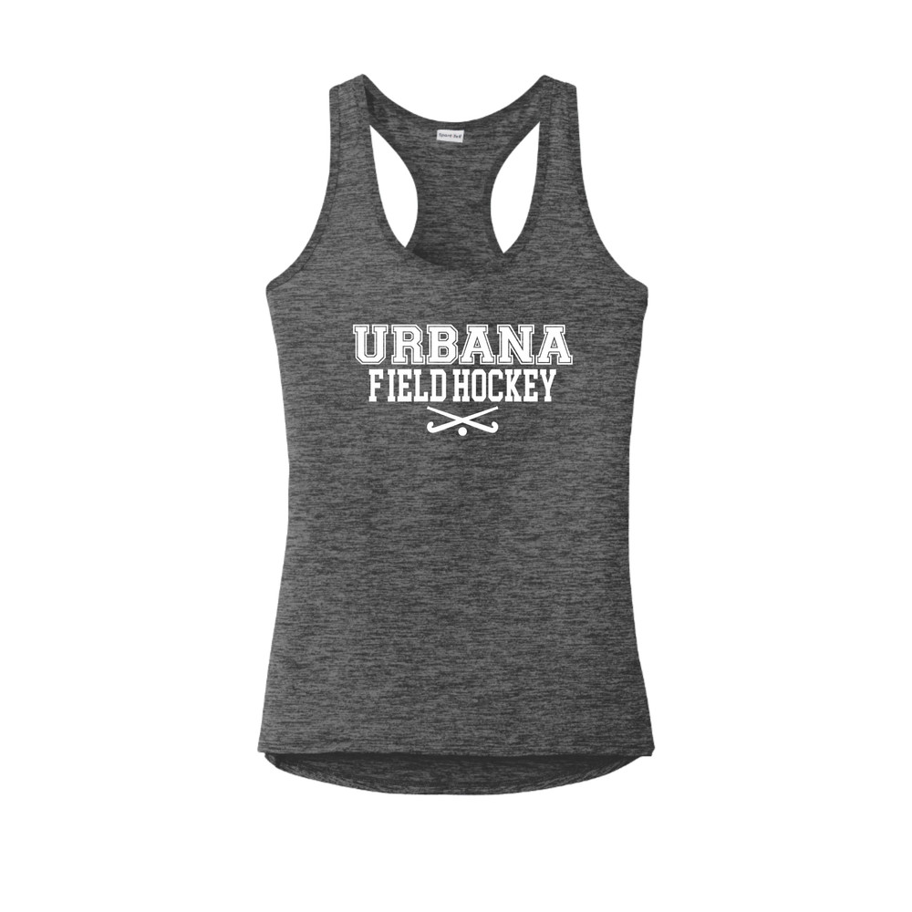Urbana FIELD HOCKEY Tank Top Performance  PosiCharge Electric Heather Racerback Racer Polyester Many Colors Available LADIES Sz XS-4XL GREY BLACK ELECTRIC