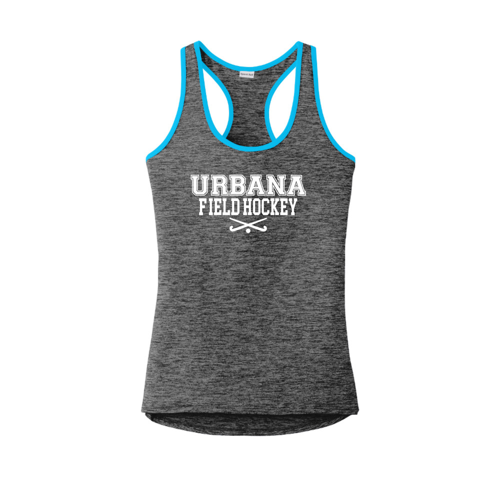 Urbana FIELD HOCKEY Tank Top Performance  PosiCharge Electric Heather Racerback Racer Polyester Many Colors Available LADIES Sz XS-4XL GREY BLACK ELECTRIC/ATOMIC BLUE