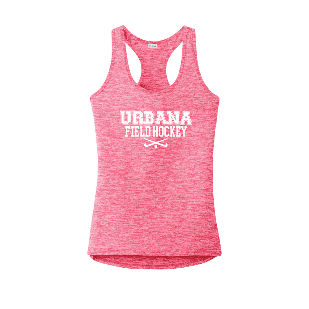 Urbana FIELD HOCKEY Tank Top Performance  PosiCharge Electric Heather Racerback Racer Polyester Many Colors Available LADIES Sz XS-4XL POWER PINK ELECTRIC