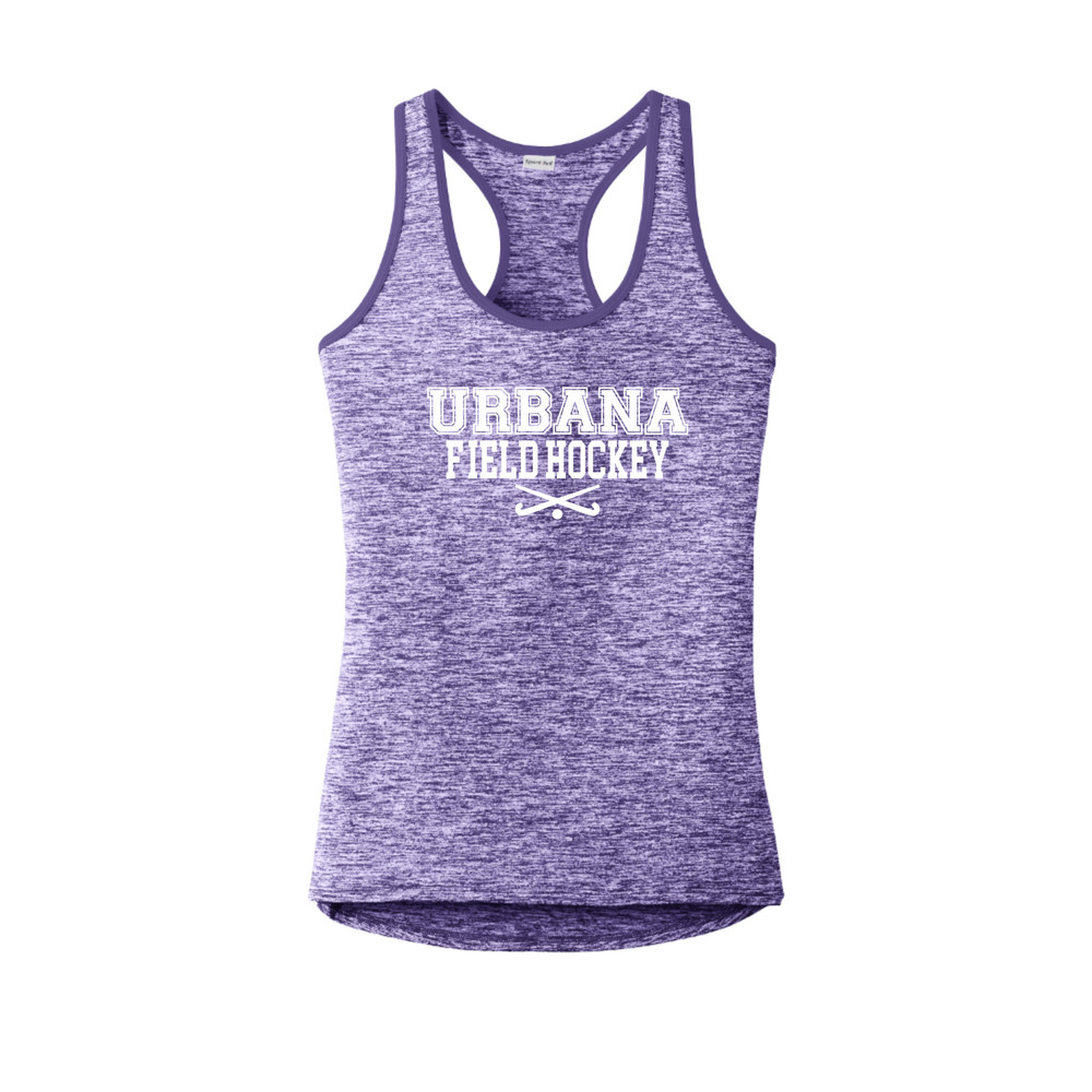 Urbana FIELD HOCKEY Tank Top Performance  PosiCharge Electric Heather Racerback Racer Polyester Many Colors Available LADIES Sz XS-4XL PURPLE ELECTRIC