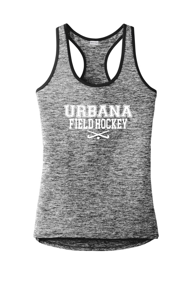 Urbana FIELD HOCKEY Tank Top Performance  PosiCharge Electric Heather Racerback Racer Polyester Many Colors Available LADIES Sz XS-4XL  BLACK ELECTRIC/BLACK