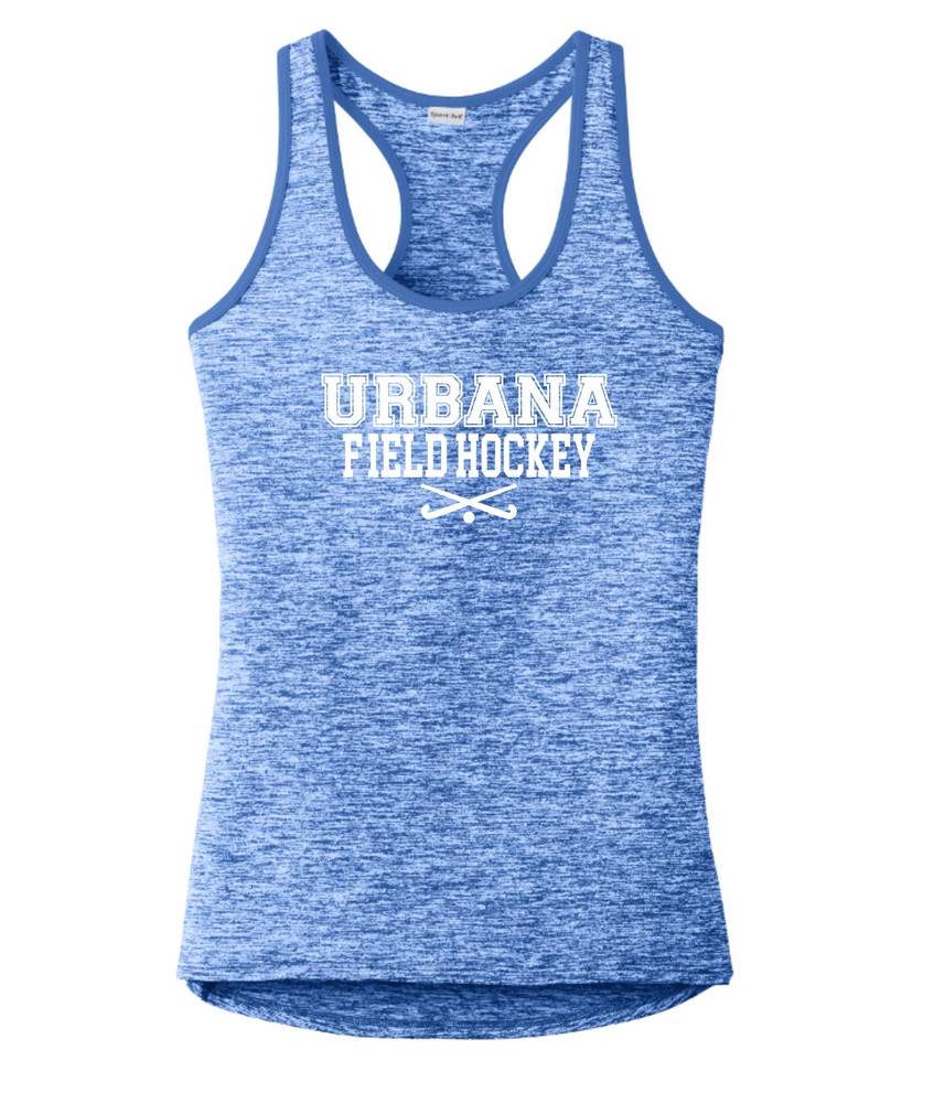 Urbana FIELD HOCKEY Tank Top Performance  PosiCharge Electric Heather Racerback Racer Polyester Many Colors Available LADIES Sz XS-4XL TRUE ROYAL ELECTRIC BLUE