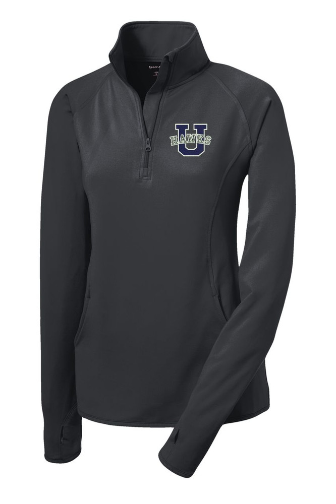 Urbana Hawks Half Zip Performance Stretch LADIES Sport Wick Polyester Spandex Pullover Many Colors Available Sizes S-3XLCHARCOAL GREY