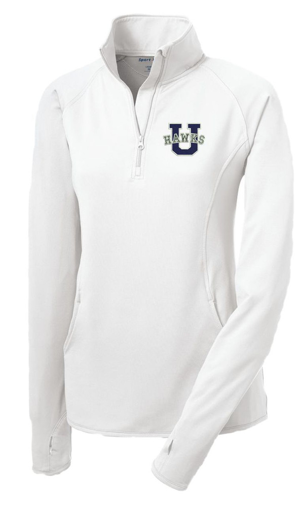Urbana Hawks Half Zip Performance Stretch LADIES Sport Wick Polyester Spandex Pullover Many Colors Available Sizes S-3XL WHITE