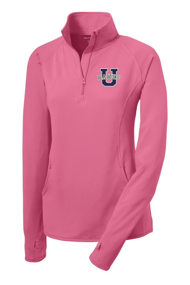 Urbana Hawks Half Zip Performance Stretch LADIES Sport Wick Polyester Spandex Pullover Many Colors Available Sizes S-3XLDUSTY ROSE