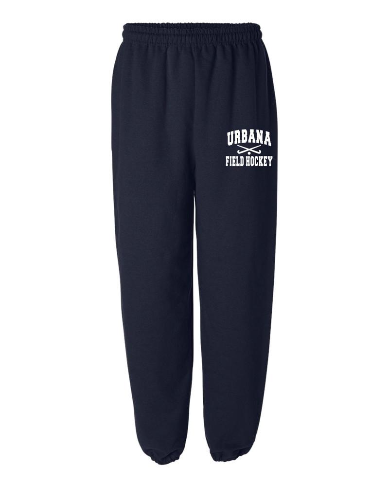 Urbana Sweatpants Cotton ELASTIC CUFF Bottom FIELD HOCKEY Sticks Many Colors Available SIZES S-2XL  NAVY