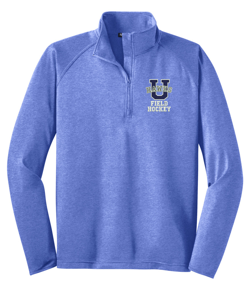 Urbana Hawks Half Zip FIELD HOCKEY Performance Stretch Sport Wick HEATHER Polyester Spandex Pullover Many Colors Available SIZES S-3XL  TRUE ROYAL HEATHER