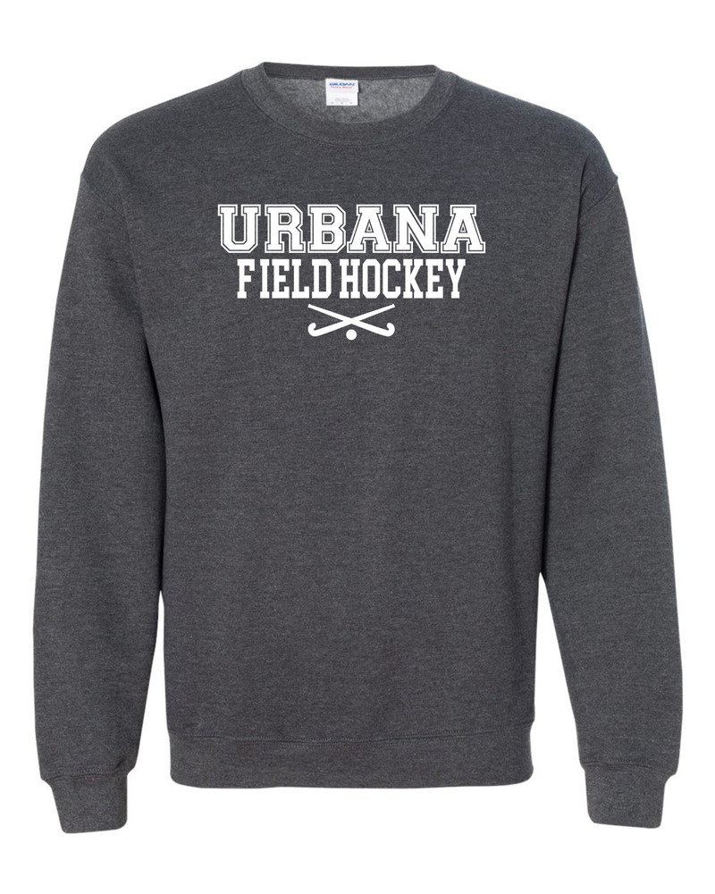 Urbana FIELD HOCKEY Cotton Crewneck Sweatshirt Sticks Many Colors Available Size S-3XL DK HEATHER