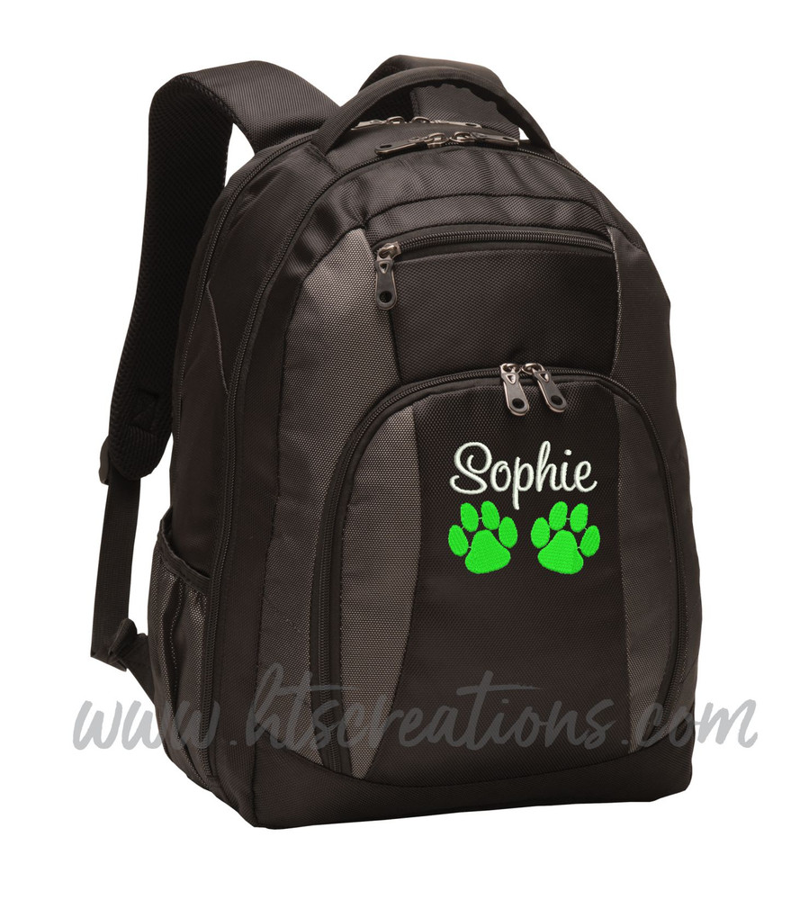 Dog Paw Prints Puppy Rescue Sports Agility K9 Service Personalized Embroidered Monogram Backpack Black Charcoal  FONT STYLE SWEETHEART