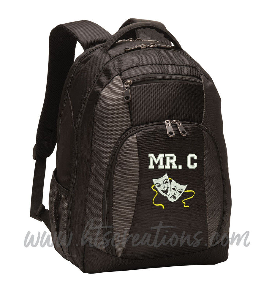 Theater Drama Masks Comedy Tragedy Glee Club Theatre Personalized Embroidered Monogram Backpack Black Charcoal FONT STYLE VARSITY