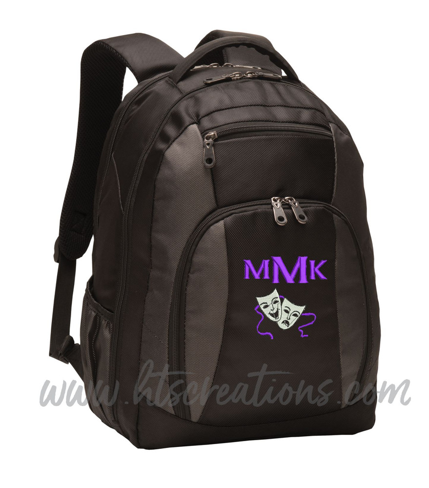 Theater Drama Masks Comedy Tragedy Glee Club Theatre Personalized Embroidered Monogram Backpack Black Charcoal FONT STYLE CELTIC