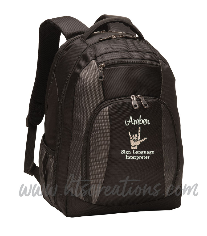 Sign Language Interpreter Love ASL Deaf Autism SLP Personalized Embroidered Monogram Backpack Black Charcoal FONT STYLE SWEETHEART & BODINI