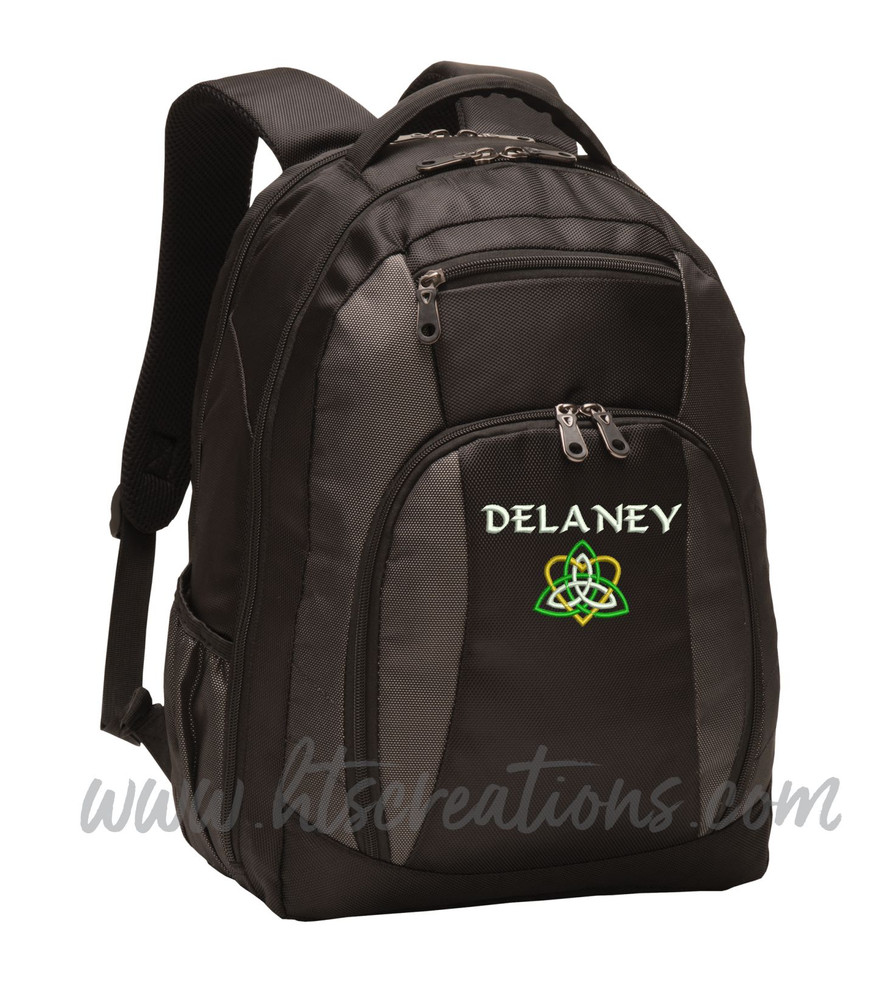 Celtic Heart Knot Ireland Irish Dance Love Personalized Embroidered Backpack  with Waterbottle Holder Font Style CALLIGRAPHY