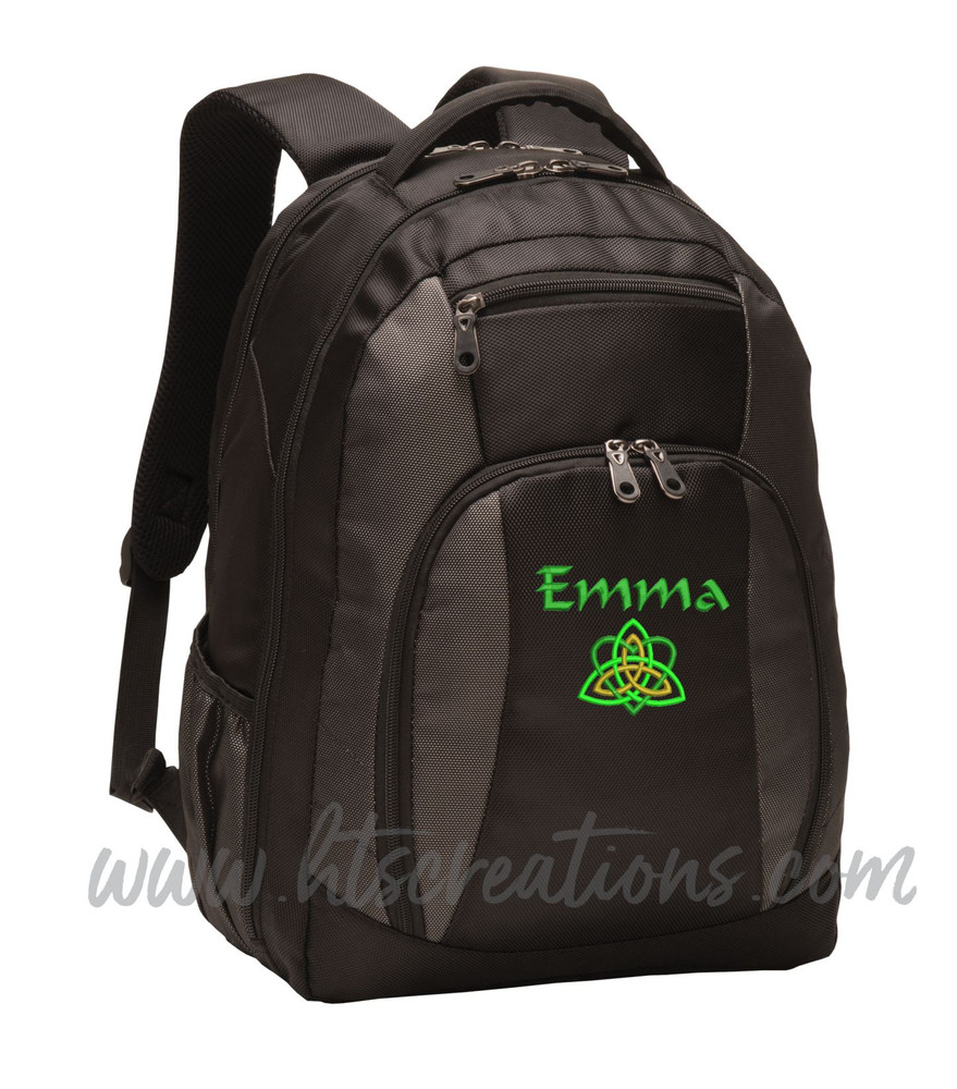 Celtic Heart Knot Ireland Irish Dance Love Personalized Embroidered Backpack  with Waterbottle HolderFont Style CALLIGRAPHY