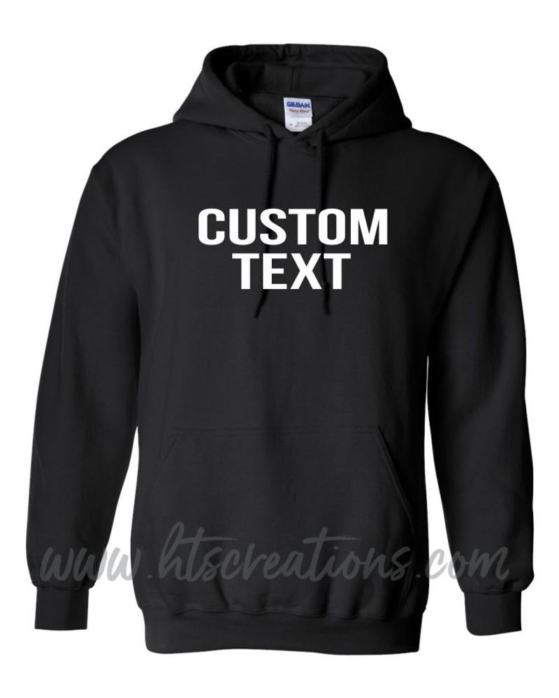 Hoodie Cotton Sweatshirt Custom Text BLOCK CAPS FONT Many Colors Available UNISEX SZ S-5XL BLACK