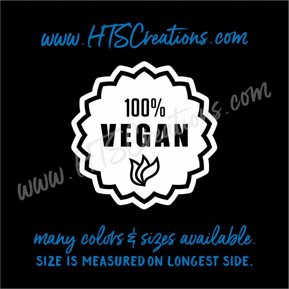 Vegan Vegetarian Herbivorous 100% Badge Vegetable Vinyl Decal Laptop CarTruck Thermos