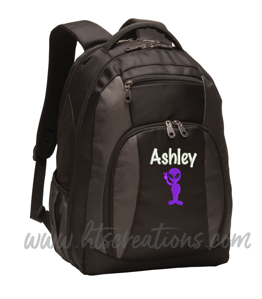 Alien Peace Sign Area 51 UFO Extraterrestrial Personalized Embroidered Backpack  with Waterbottle Holder MARKER PEN