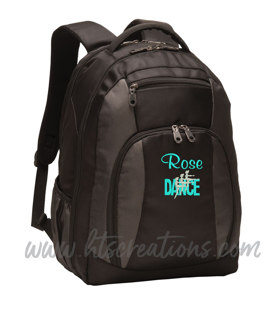 Dancers Dance Ballet Modern Personalized Embroidered Backpack  with Waterbottle Holder FONT Style  CASUAL SCRIPT