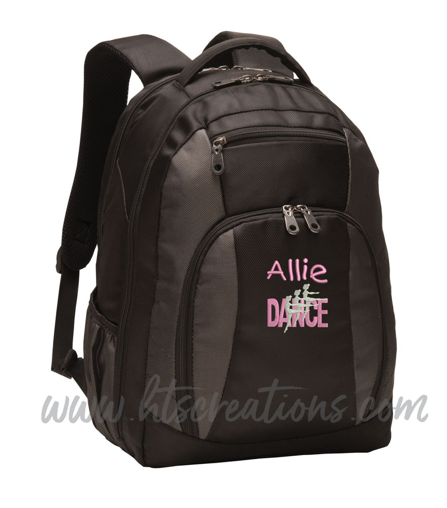 Dancers Dance Ballet Modern Personalized Embroidered Backpack  with Waterbottle Holder FONT Style  CHILDS PLAY