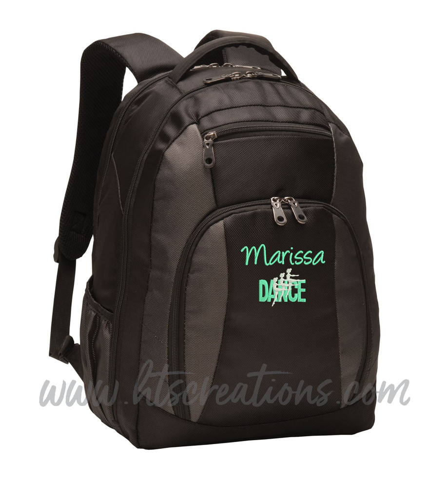 Dancers Dance Ballet Modern Personalized Embroidered Backpack  with Waterbottle Holder FONT Style  HANDWRITTEN