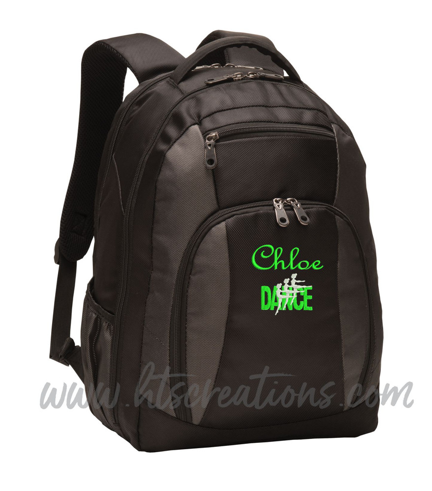 Dancers Dance Ballet Modern Personalized Embroidered Backpack  with Waterbottle Holder FONT Style  FRENCH SCRIPT