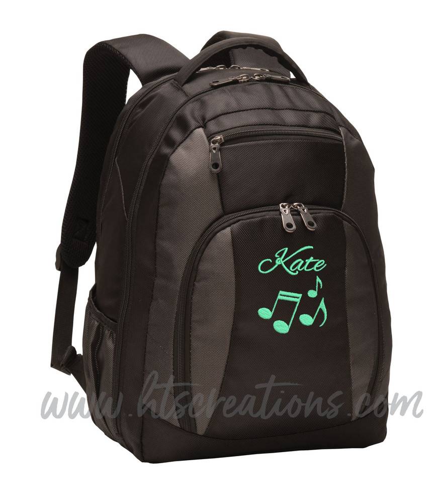 Music Notes Chorus Choir Band Teacher Glee Theater Personalized Embroidered Backpack with Waterbottle Holder FONT Style ALEXIS