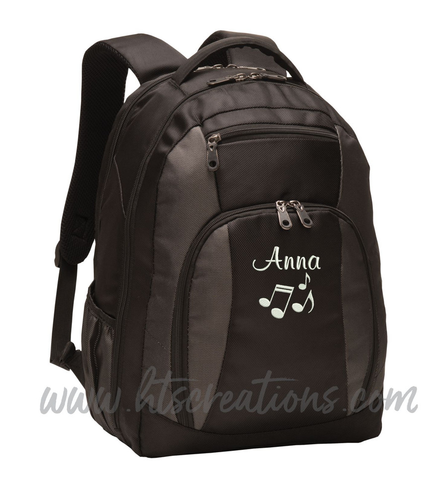 Music Notes Chorus Choir Band Teacher Glee Theater Personalized Embroidered Backpack with Waterbottle Holder FONT Style CASUAL SCRIPT