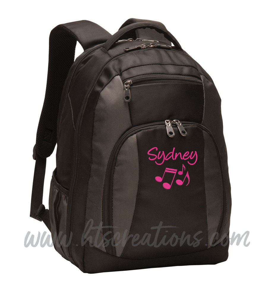 Music Notes Chorus Choir Band Teacher Glee Theater Personalized Embroidered Backpack with Waterbottle Holder FONT Style HANDWRITTEN