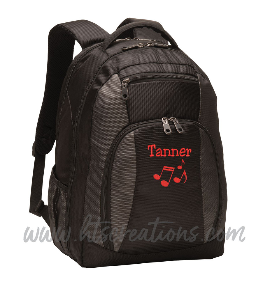 Music Notes Chorus Choir Band Teacher Glee Theater Personalized Embroidered Backpack with Waterbottle Holder FONT Style JESTER