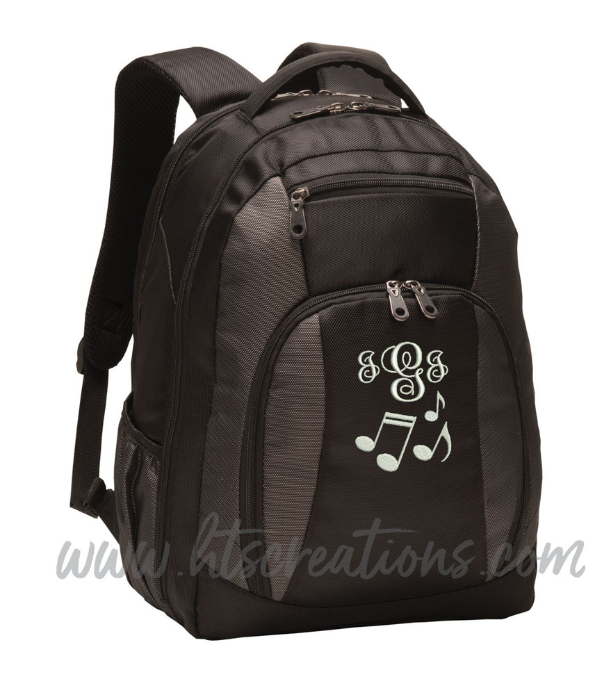 Music Notes Chorus Choir Band Teacher Glee Theater Personalized Embroidered Backpack with Waterbottle Holder FONT Style MONO CORSIVA
