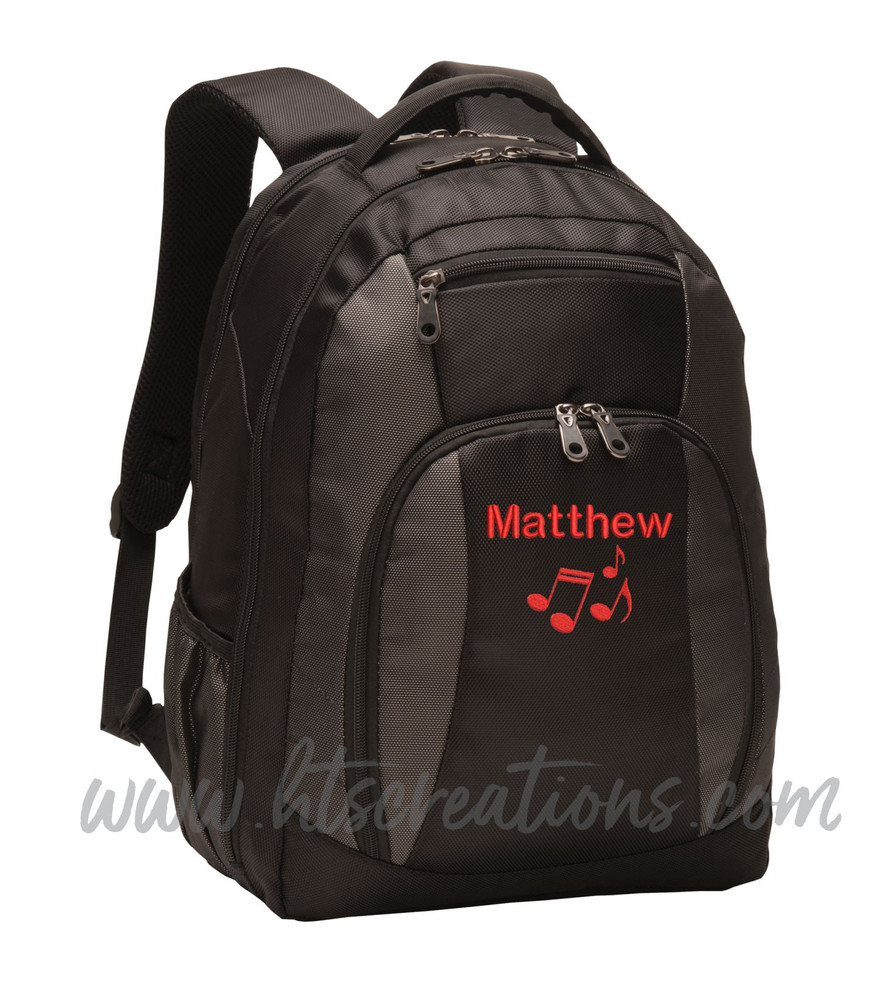 Music Notes Chorus Choir Band Teacher Glee Theater Personalized Embroidered Backpack with Waterbottle Holder FONT Style ROUNDED BLOCK