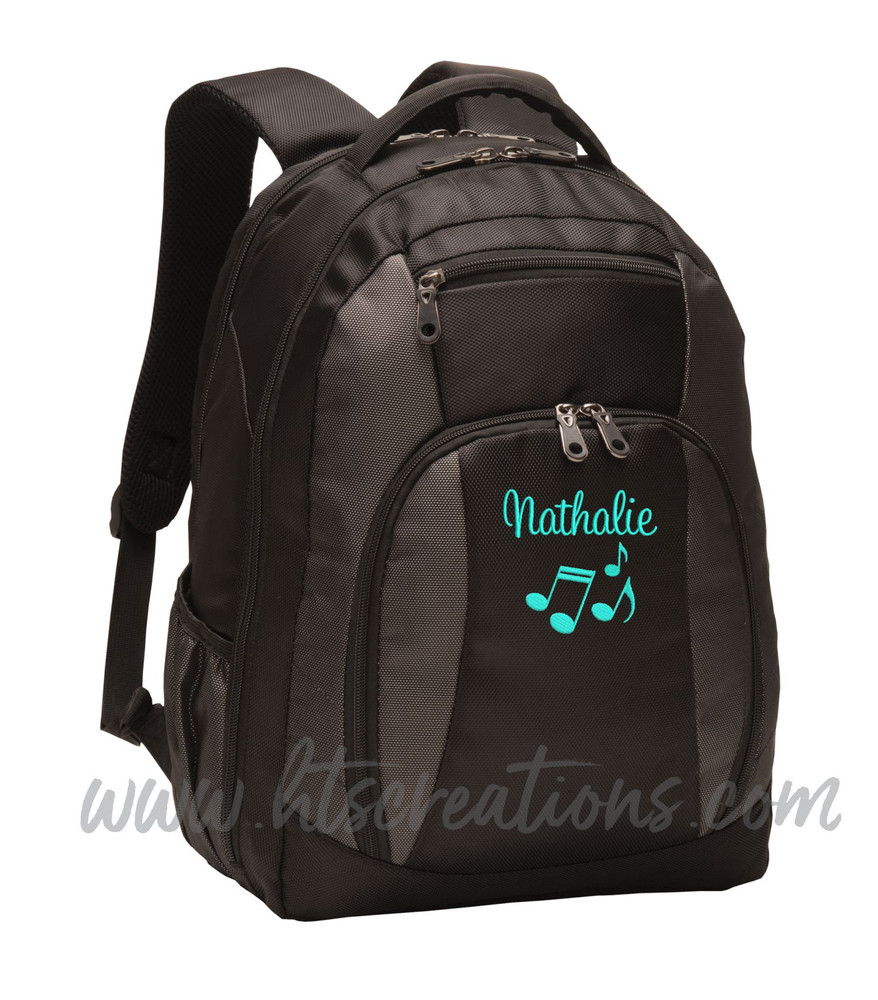Music Notes Chorus Choir Band Teacher Glee Theater  Personalized Embroidered Backpack  with Waterbottle Holder