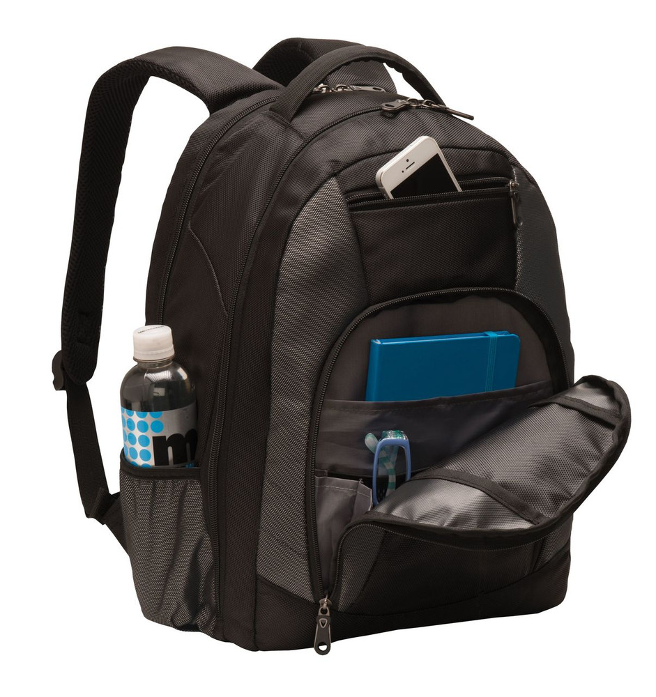 Backpack with Waterbottle Holder  Black & Charcoal FRONT ORGANIZER