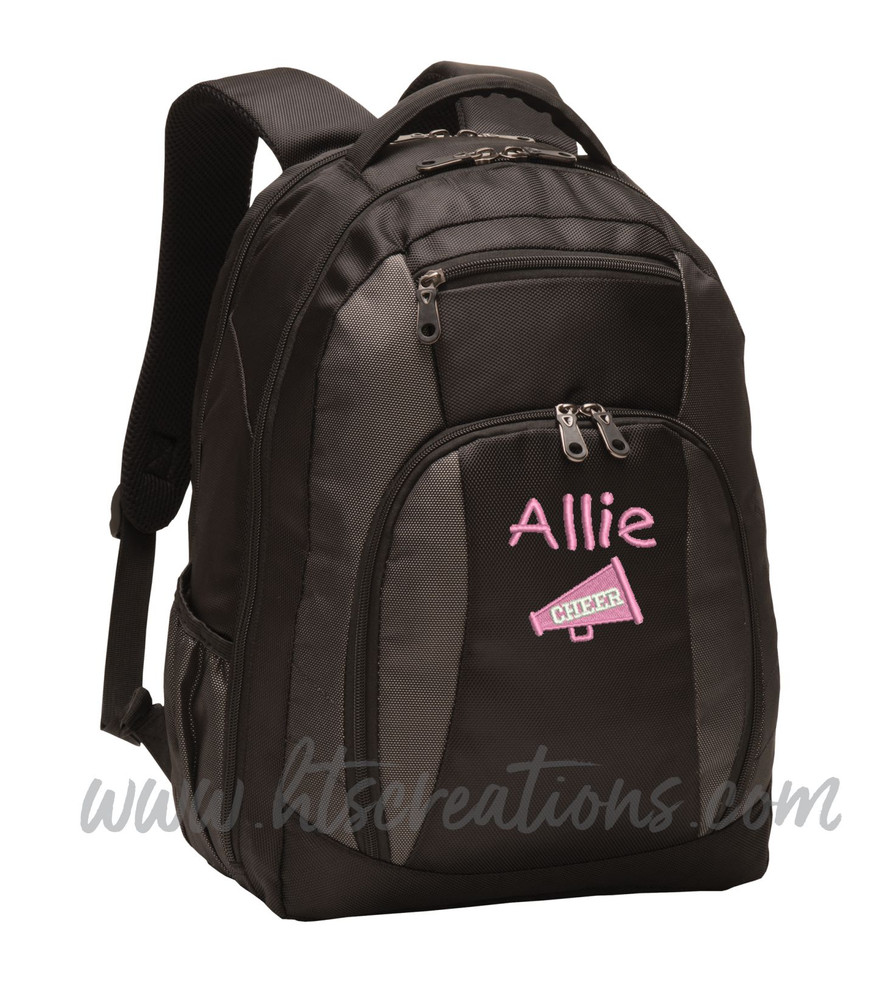 Cheer Bullhorn Cheerleader Personalized Embroidered Backpack with Waterbottle Holder FONT Style CHILDS PLAY