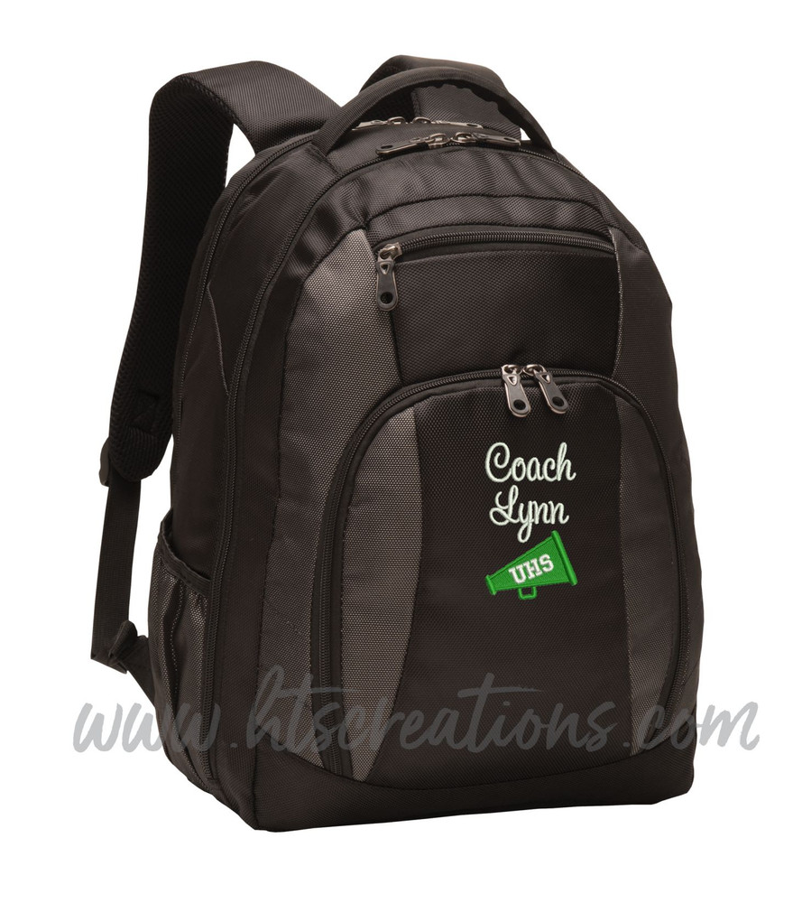 Cheer Bullhorn Cheerleader Personalized Embroidered Backpack with Waterbottle Holder FONT Style SWEETHEART