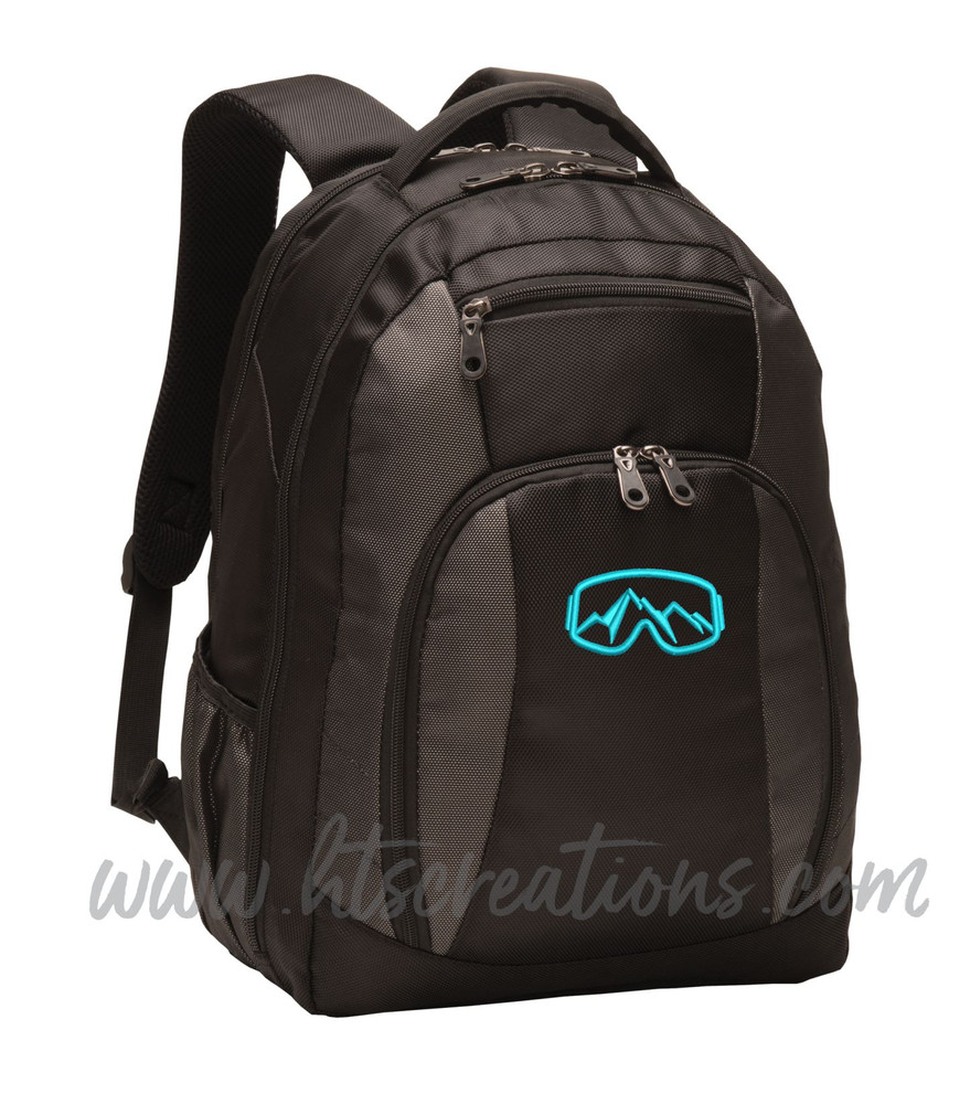 Ski Goggles Mountain Snowboarding Skiing Extreme Silhouette Sports Personalized Embroidered Monogram Backpack Waterbottle Holder NO PERSONALIZATION