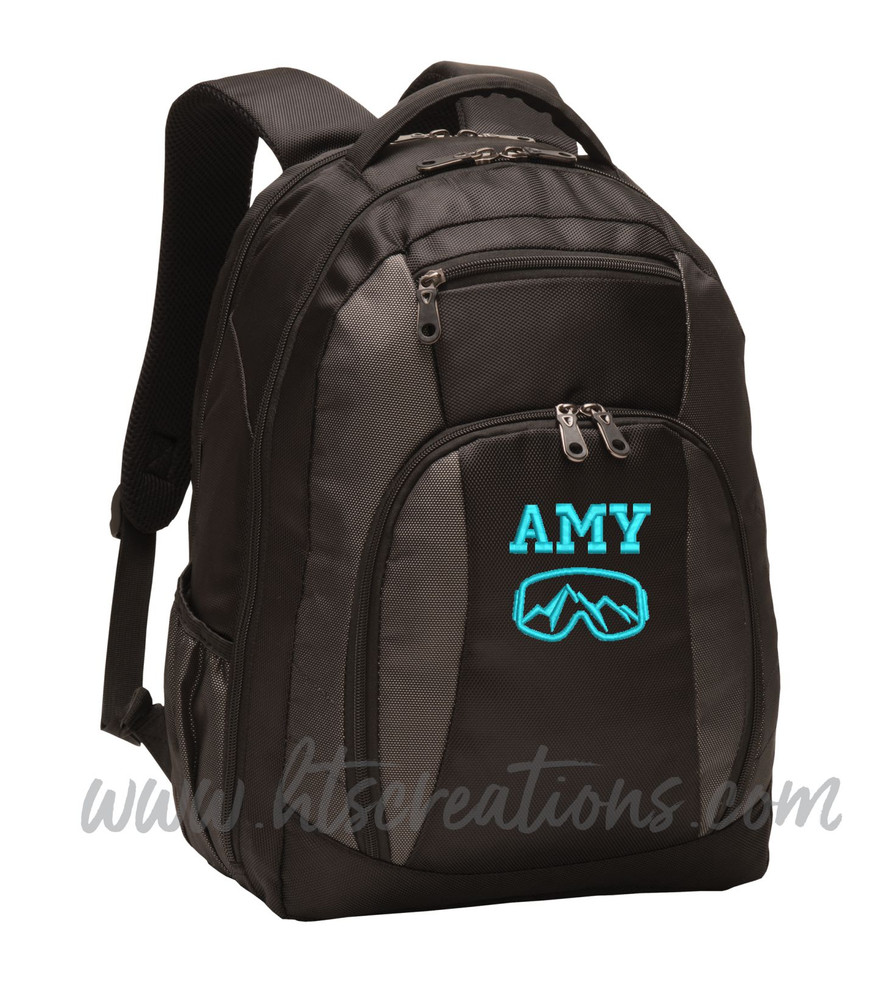 Ski Goggles Mountain Snowboarding Skiing Extreme Silhouette Sports Personalized Embroidered Monogram Backpack Waterbottle Holder FONT Style  VARSITY
