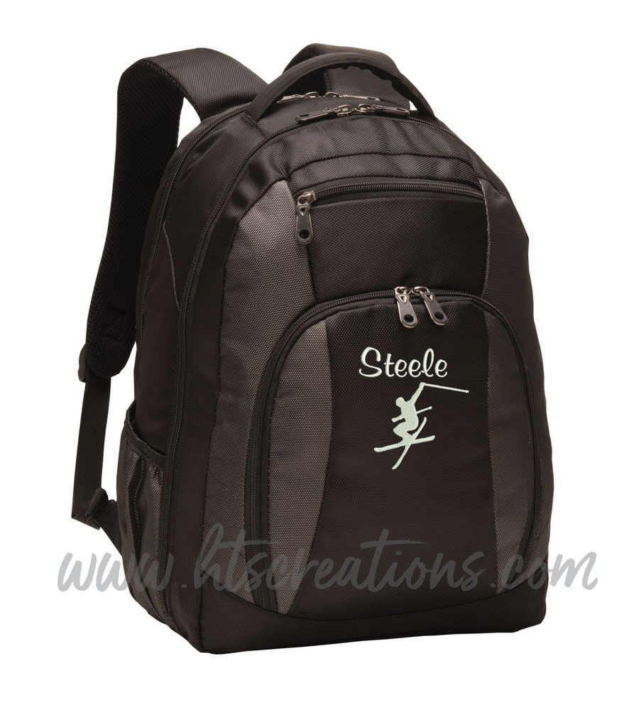 Ski Skiing Downhill Extreme Mountain  Silhouette Sports Personalized Embroidered Monogram Backpack Waterbottle Holder Font Style CASUAL SCRIPT