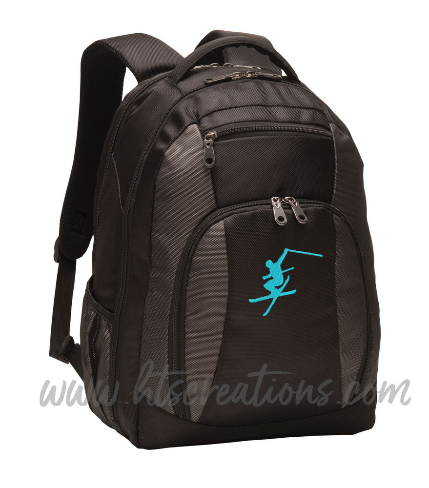 Ski Skiing Downhill Extreme Mountain  Silhouette Sports Personalized Embroidered Monogram Backpack Waterbottle Holder Font Style NO PERSONALIZAITON
