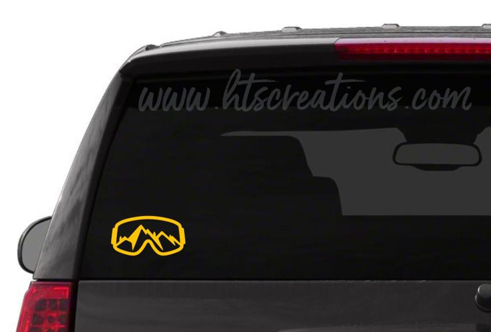Ski Goggles Snowboarding Mountain Downhill Extreme Sports Vinyl Decal Laptop Car Mirror Truck YELLOW