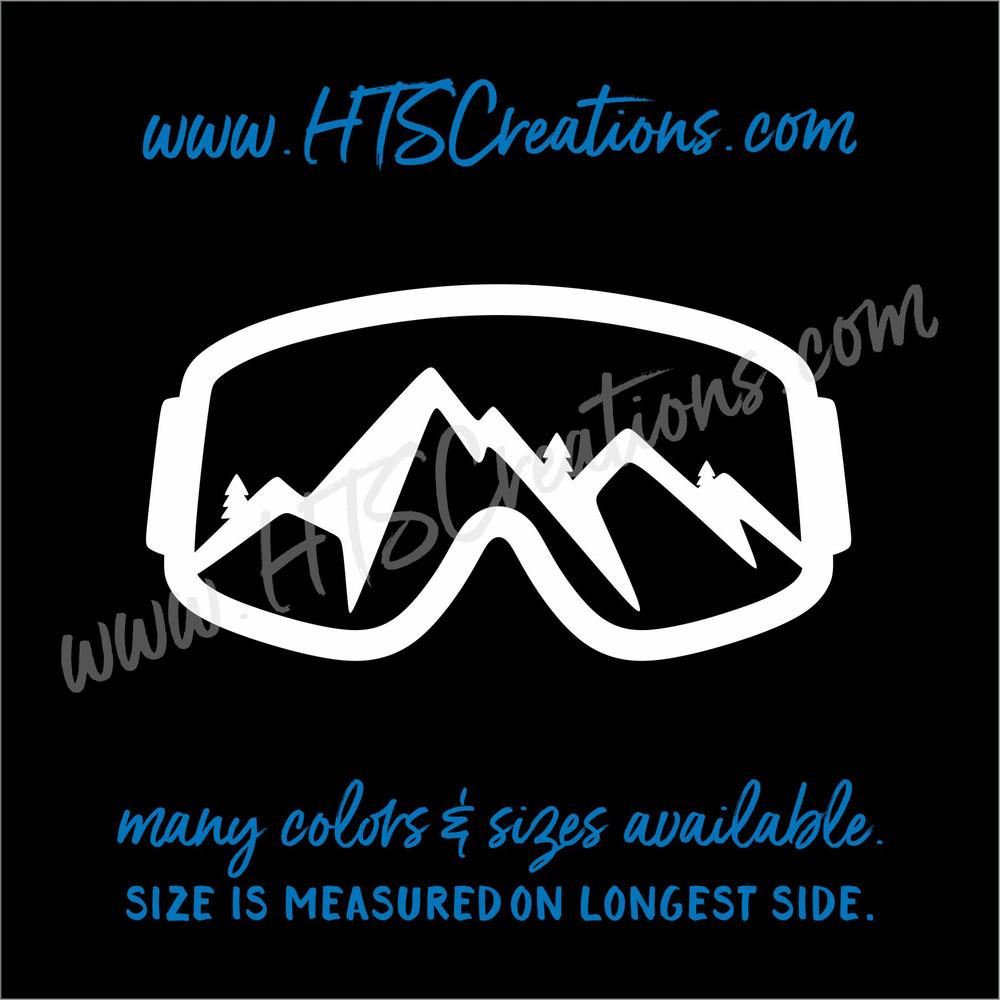 Ski Goggles Snowboarding Mountain Downhill Extreme Sports Vinyl Decal Laptop Car Mirror Truck WHITE