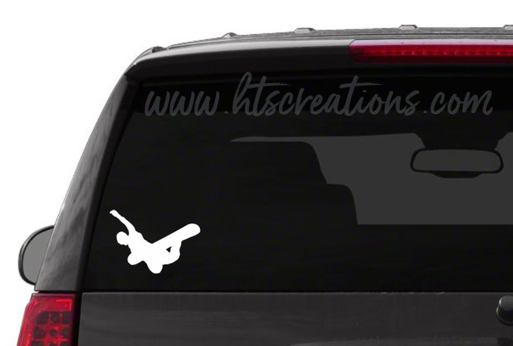 Snowboarder Ski Snowboarding Downhill Extreme Sports Vinyl Decal Laptop Car Mirror Truck WHITE