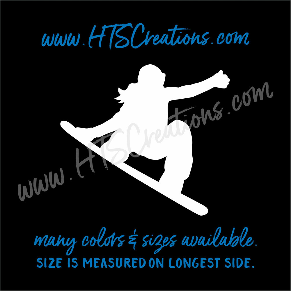 Snowboarder Girl Ski Snowboarding Downhill Extreme Sports Vinyl Decal Laptop Car Mirror Truck WHITE