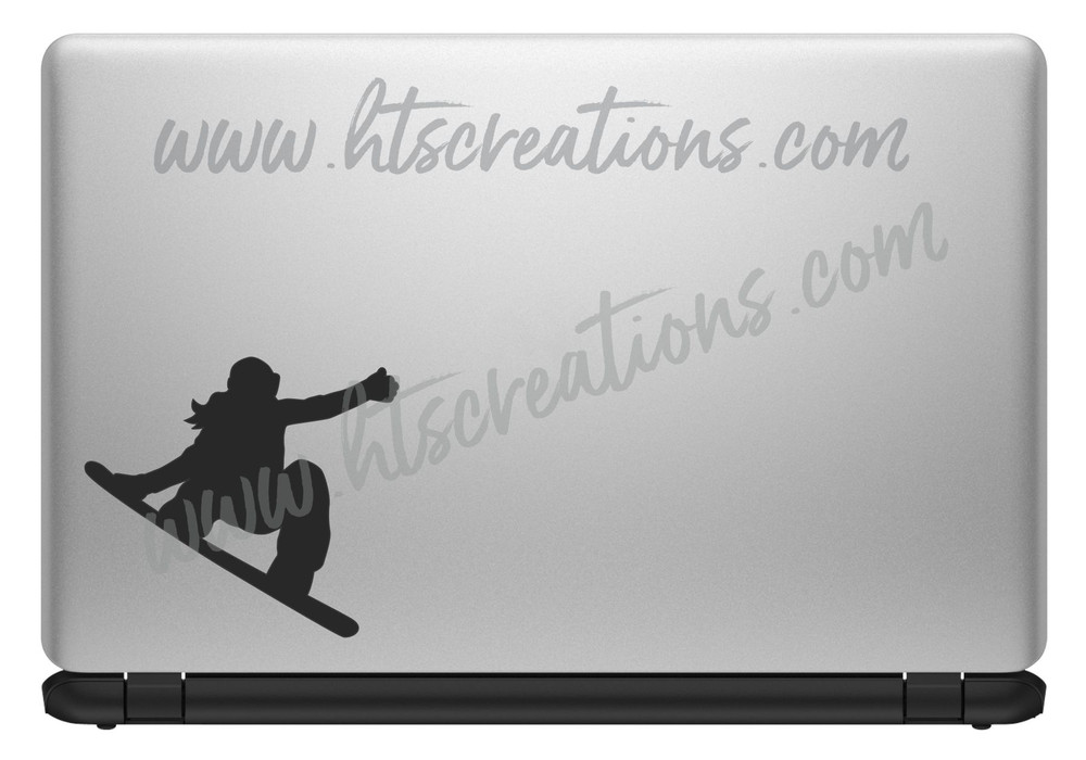 Snowboarder Girl Ski Snowboarding Downhill Extreme Sports Vinyl Decal Laptop Car Mirror Truck BLACK