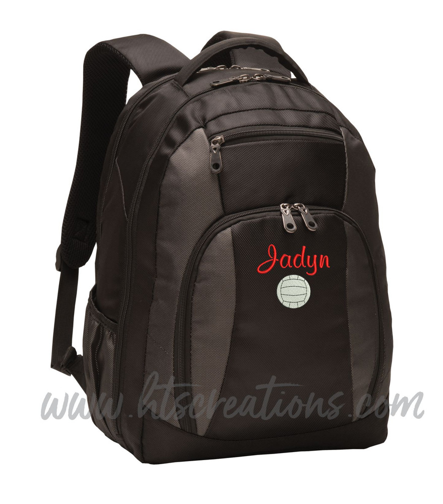Volleyball Coach Team Mom Player Sports Personalized Embroidered Monogram Backpack Waterbottle Holder Font Style CASUAL SCRIPT
